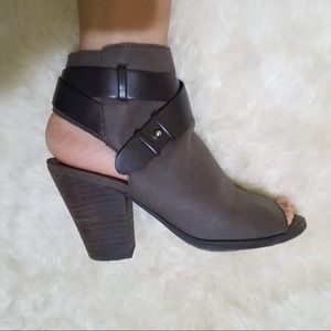 Taupe Gray Block Heel Open Toe Booties Ankle Boots